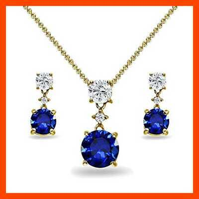 YELLOW GOLD Flashed STERLING SILVER Created BLUE Sapphire & WHITE Topaz Round Th