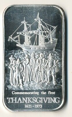 Commemorating the First Thanksgiving 1973 1 oz .999 Fine Silver Art Bar Artistic