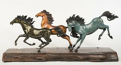 Triple Crown Very Large Collector Edition Horse Trophy Bronze Sculpture Statue