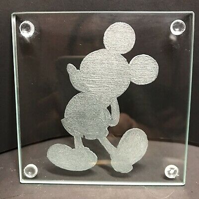 Disney Mickey Mouse Hand Engraved Coasters X4
