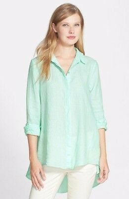 507bc851 Eileen Fisher Pale Aqua High Low Classic Collar Organic Linen Shirt L NWT