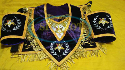 MASONIC REGALIA ORDER Of Eastern Star Embroidered OES Apron CUFF'S AND  COLLAR