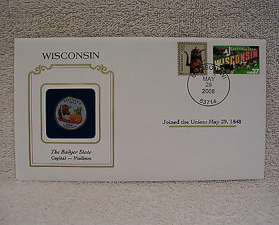 Wisconsin Colorized State Quarter Cover w/ Greetings From America Stamp  Painted