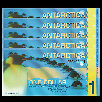 Clear Window Polymer Penguins 2015 Antarctica 1 Dollar Lot 10 PCS UNC