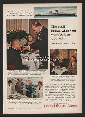 1961 SS United States Staff Knows Barber Downing Mandel US Cruise Lines ad