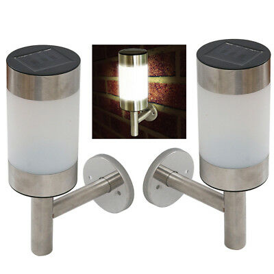 nw Outdoor Solar Powered LED Wall Path Landscape Mount Garden Fence Light Lamp