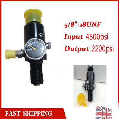 "Paintball Valve Regulator 4500psi Air Tank Output 2200psi 5/8""-18UNF Thread UK"