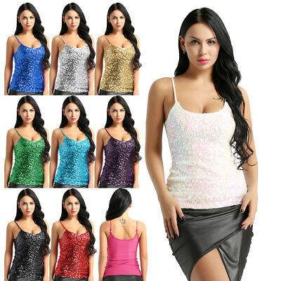 Womens Glitter Sequins Tank Tops Ladies Sexy Sparkle Cami Vest Clubwear Camisole