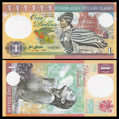 Pitcairn Islands, $1 private issue, 2018, Specimen, test note, Polymer, UNC