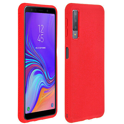 Coque Samsung Galaxy A7 2018 Protection Striée Silicone Gel Ultra-fine - Rouge