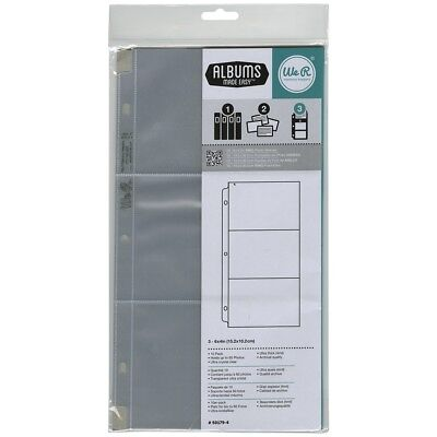 "We R Ring Photo Sleeves 6""x12"" 10/pkg-(3) 6""x4"" Pockets"