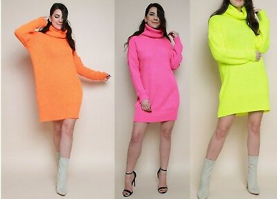 Womens Neon Cowl Neck Knitted Jumper Dress Ladies Long Sleeve Knit Sweater Top