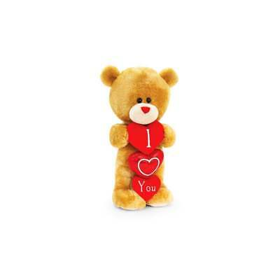 Keel Toys HUGGING Pair PIPP the BEAR with HEART I Love You 20cm SOFT TOY Sitting