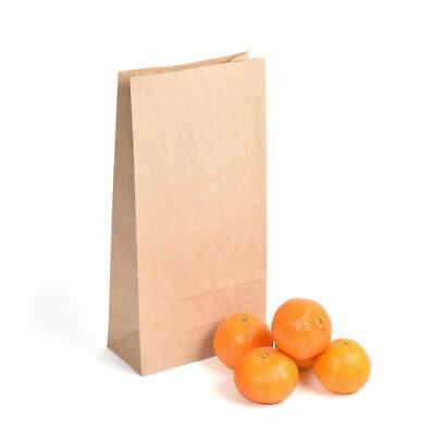 3.5lb Block Bottom Brown Biodegradable Paper Kraft Bags - Pack of 250
