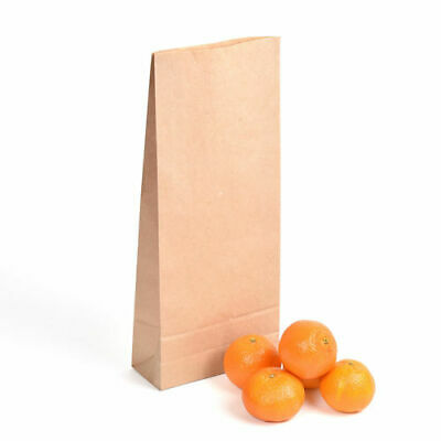 7lb Block Bottom Brown Paper Kraft Bags - Pack of 250