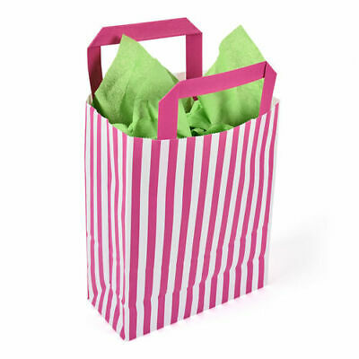 180 x 80 x 230mm Pink Striped Paper Carrier - Pack of 50