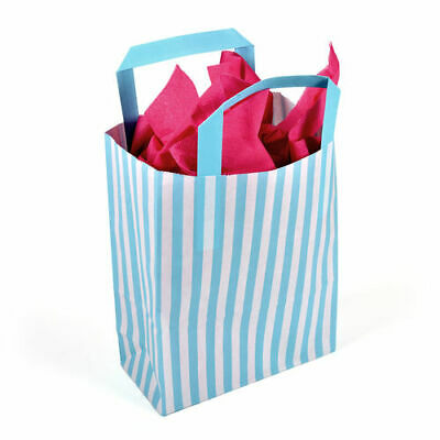180 x 80 x 230mm Aqua Striped Paper Carrier - Pack of 50