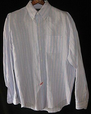 0301b454e BROOKS BROTHERS IRISH LINEN Shirt SPRING STRIPES MENS XL Long Sleeve Button  Down