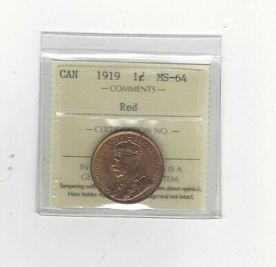 **1919** ICCS Graded Canadian, Large One Cent, **MS-64**