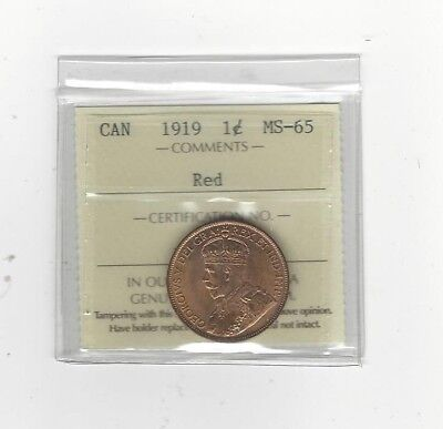 **1919** ICCS Graded Canadian, Large One Cent, **MS-65**