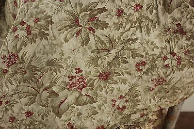 Quilted Valance Antique French c 1870 textile bed hanging in faded greens & red