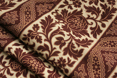Curtain Antique French printed cotton fabric c1860 madder brown drape w/ trim
