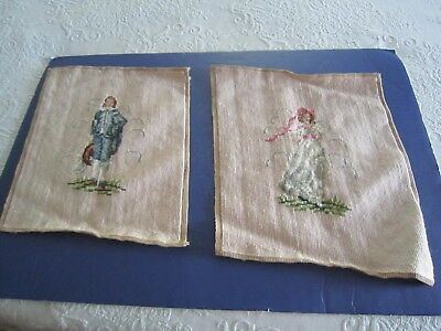 "2 Vintage Completed NEEDLEPOINT Boy Blue & Maiden on Beige 12"" x 14""  BUY IT NOW"