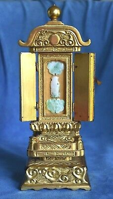 Antique Chinese Hand Carved Jade Buddha & Wood Lacquer Traveling Temple Shrine