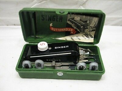 Vintage Singer Buttonholer Sewing Machine Attachment with Case Tool Template