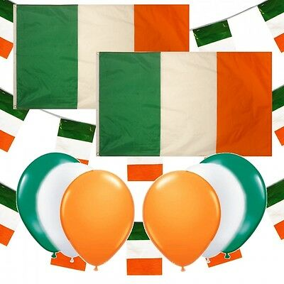 St Patricks Day Flags Bunting & Balloons Irish Party Decorations Pub Pack Set E