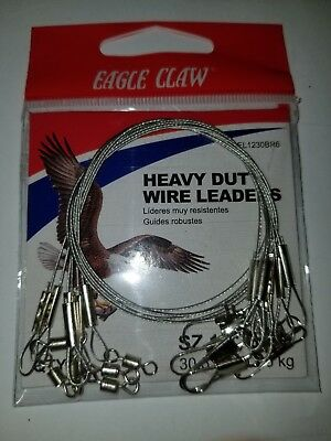 "3 Pack Eagle Claw 08012-005 Black Steel Leader 30 lbs 9/"" Fishing"