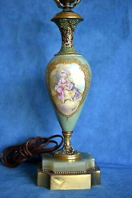 Antique French SEVRES Signed Champleve Enamel Bronze Green Marble Table Lamp