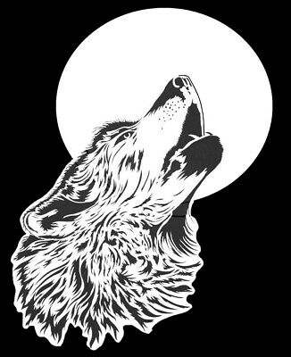 high detail airbrush stencil wolf howling moon FREE UK  POSTAGE