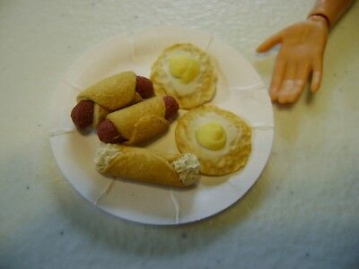 Barbie Dollhouse Food Fried Eggs, Sausage rolls & Cannoli  Handcrafted  NEW
