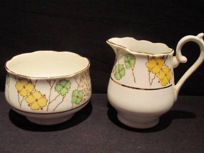 Salisbury Vintage Cream & Open Sugar Yellow Green & Gold Floral made in England