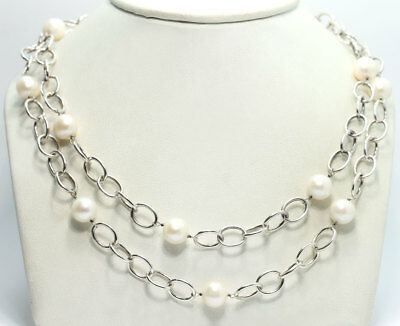 """Sterling Silver Freshwater Pearl Station Oval Link Chain Necklace IPS 925 36.25"""""""