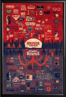 Stranger Things - Upside Down Infographic & Pictograms Poster Framed, Size 24x36