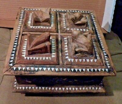 Nice Antique Trap Art Incense Wooden Mother of Pearl Inlay 4 Sectional Frog Box