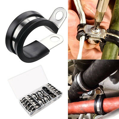 """44 Pcs/ Lot 1/4"""" 5/16"""" 3/8"""" 1/2"""" 5/8"""" Rubber Cushion Pipe Cable Clamps Assorted"""