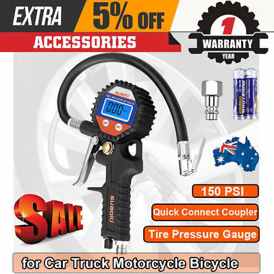 Suaoki Digital Tire Inflator Pressure Gauge Hose 150 PSI Valve Car Truck Bicycle
