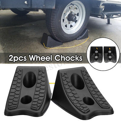 2Pc Rubber Wheel Tough Chock Stop Tire For RV Camper Trailer Car Truck Stopper