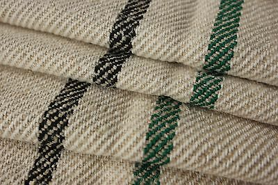 Grain sack fabric grainsack material 7.7 YARDS GREEN & BLACK stripes damaged
