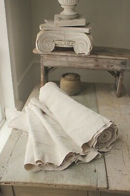 LINEN Fabric Antique vintage 14.1 YARDS organic upholstery material WASHED