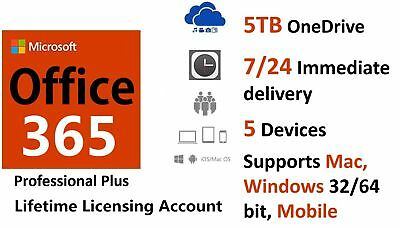 Microsoft Office365/2016 Pro Plus - 5PC/5TB/Windows, Mac, Mobile/32,64BIT