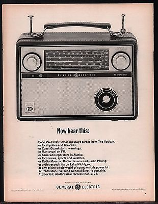 1964 GE General Electric PRINT AD 17 Transistor Portable Radio ADVERTISING