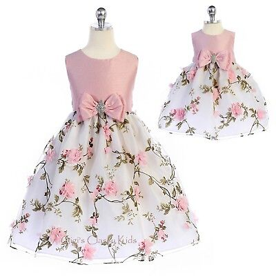 652c22f301a Pink Flower Girls Dress 3D Flowers Floral Print Wedding Party Easter Baby  Kids