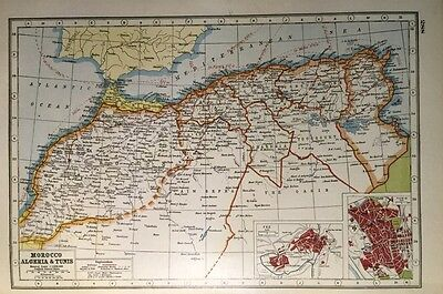 Vintage Antique Original 1920 Map Of Morocco Algeria & Tunis Fez Print