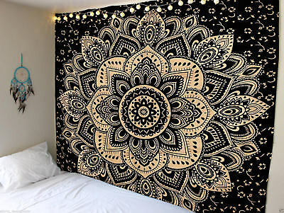 Twin Szie Black Gold Ombre Mandala Indian Cotton Tapestry Home Decorative Throw