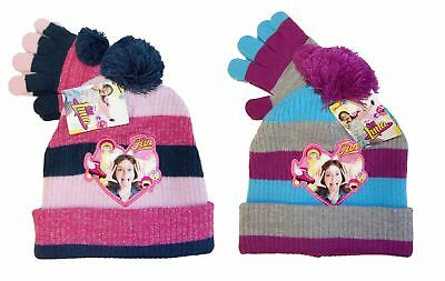 Disney Soy Luna Beanie Set with Gloves for Girls Blue or Purple Bobble Hat New