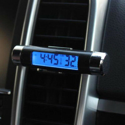 LED Car Clock Thermometer Clock Thermometer Temperature Tester 82*18mm Black